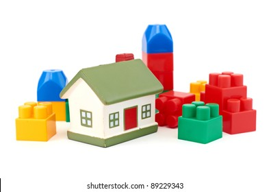 Bright Color Building Blocks Isolated on White.