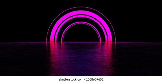 Bright colored arch in a dark space. Glowing Arch. 3D Render