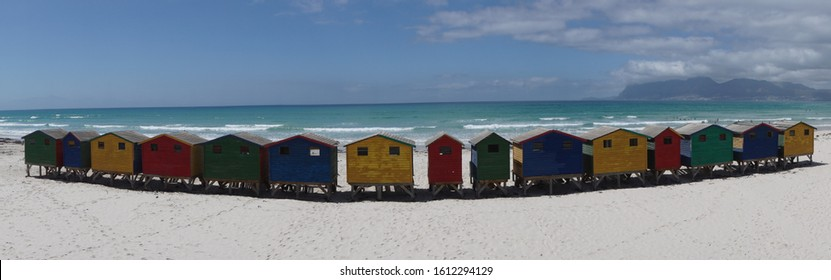 Bright colored beach houses at Muizenberg