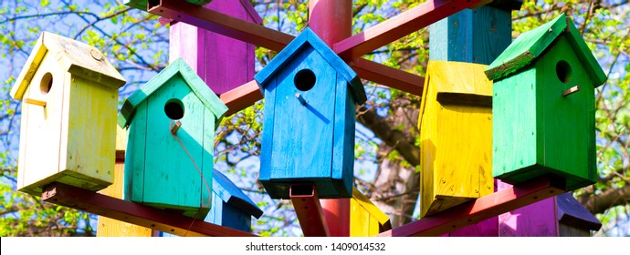 bright colored birdhouses, colorful bird houses, wooden birdhouses
