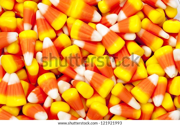 Bright colored candy corn for halloween.