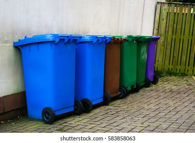 bright colored dustbins on the streets of Scotland