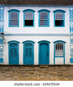 bright colored facade of house at the Parati Brazil