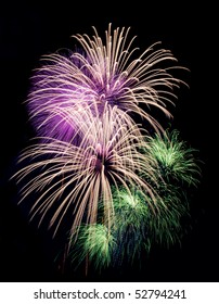 bright colored firework on black night sky