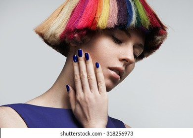 bright colored hair and nails