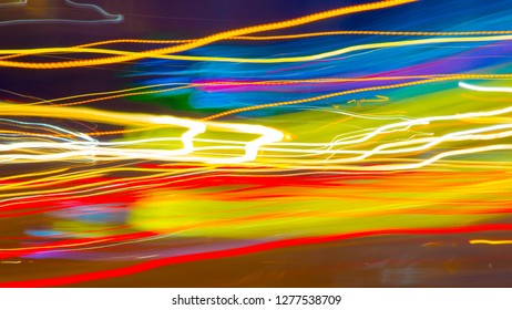 Bright Colored Light Trails for a Background