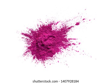 Bright colored pigment. Loose cosmetic powder. Neon pink eyeshadow pigment isolated on a white background, close-up