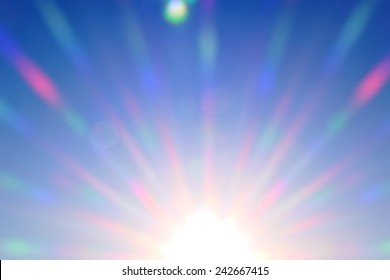 bright colored rays of  sun shine, abstract