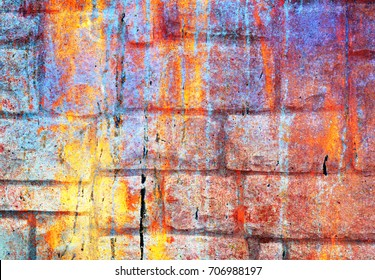 Bright colorful abstract background, chaotic splashes and stains of paint on the surface
