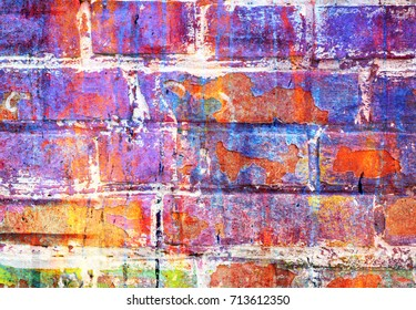 Bright colorful abstract background, chaotic splashes of paint on a brick wall