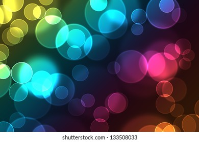 Bright colorful abstract bokeh circles for background use.