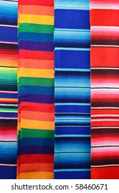 Bright colorful background of mexican blankets