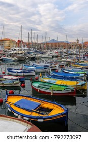 Bright colorful boats in the port of Nice, Cote d'Azur, French Riviera, France