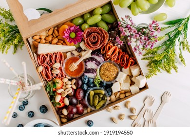 Bright and Colorful Charcuterie Boards and Boxes Fruit, Meat and Cheese