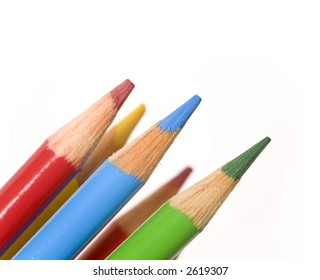 Bright and colorful coloring pencils isolated