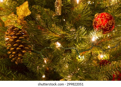 Bright colorful decorations on a Christmas Tree.