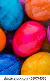 Bright, colorful Easter eggs in isolated on white.