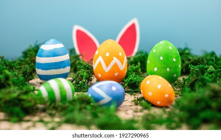 Bright colorful Easter eggs and rabbit ears on a blue and wooden background with green moss.
