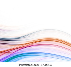 Bright colorful fibers in wave effect - fractal abstract background