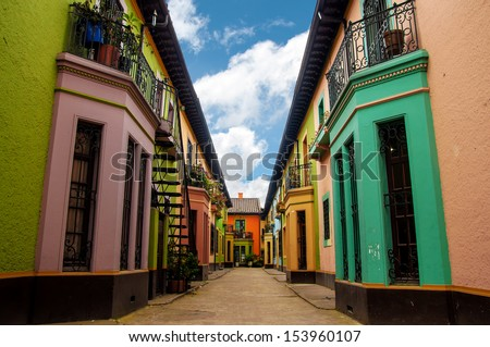 Bright colorful historic buildings in Los Martires neighborhood in Bogota, Colombia