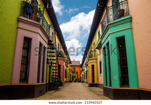 Bright colorful historic buildings in Los Martires neighborhood in Bogota, Colombia