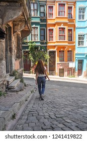 Bright colorful houses in Balat district, Istanbul, Turkey. Balat is popular, trendy hipsters and authentic place.