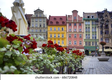 bright colorful houses central market square in Wroclaw, Poland