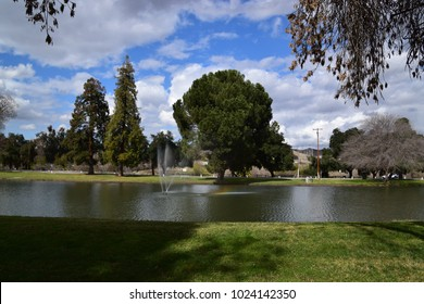 A bright and colorful landscape at the park, Bakersfield, CA.