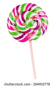 Bright colorful lollipop over white background isolated
