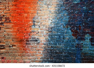 Bright colorful multi-colored painted brick wall
