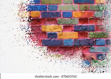 Bright colorful multicolored painted brick stone wall.