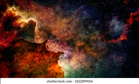 bright colorful nebula (3d space illustration, background, elements of this image are furnished by NASA)