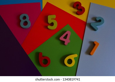bright colorful numbers on a colored background to teach children the lesson of arithmetic and numeracy