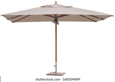 Bright Colorful Outdoor Cafe Restaurant Beach Parasol Umbrella for Shades Park Decoration in White Isolated Background