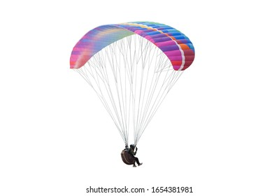 Bright colorful parachute on white background, isolated. Concept of extreme sport, taking adventure/ challenge.