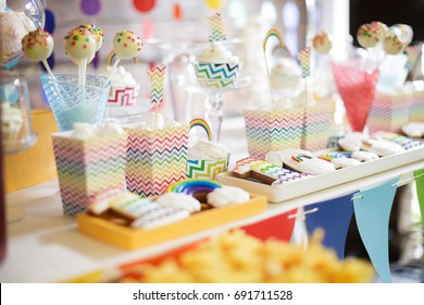 Bright colorful rainbow candy bar on the Birthday party