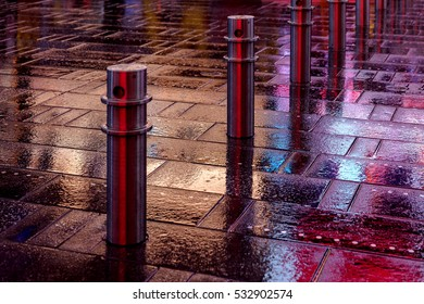 bright colorful reflection of city lights in rainy weather