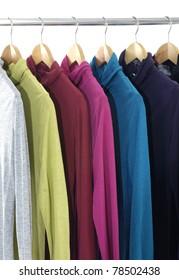 bright colorful Shirts hanging