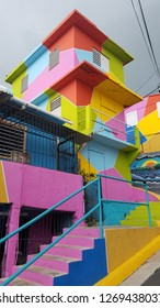 bright colorful steps and buildings in Yauco, Puerto Rico