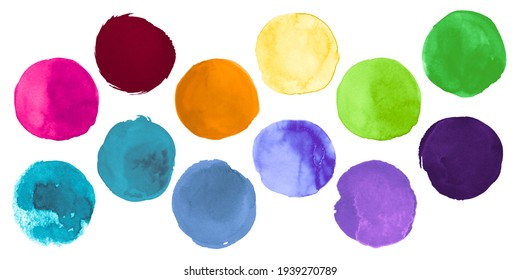 Bright Colorful Watercolor Circles. Set of Hand Paint Ink Spots. Stroke Dots Drawing. Colorful Watercolor Circles. Art Abstract Bubble. Creative Splashes on Paper. Brush Watercolor Circles.