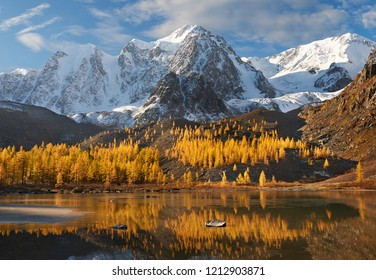 Bright colorful yellow autumn mountain lake, Russia, Siberia, Altai mountains, Chuya ridge.