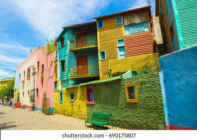 Bright colors of Caminito, the colorful street museum in La Boca neighborhood of Buenos Aires, Argentina - South America