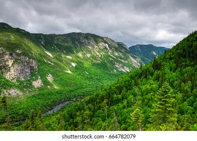 Bright colors from sunlight in the valley, Acropole des draveurs, Quebec, Canada