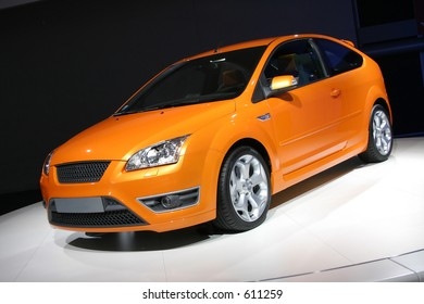 bright coloured european hatchback car