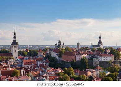 Bright colourful aerial shot of old town of Tallinn, Estonia at sunny day.