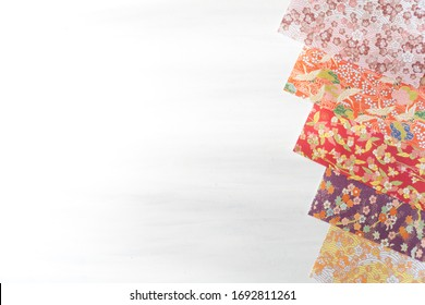 Bright Colourful Origami paper  on Table from Above with Copy Space