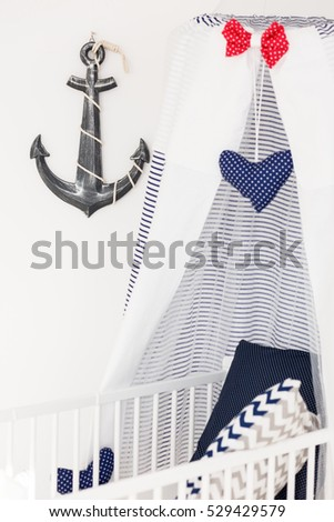 Bright and comfortable crib with canopy and anchor in nautical nursery  sc 1 st  Shutterstock & Bright Comfortable Crib Canopy Anchor Nautical Stock Photo (Edit Now ...
