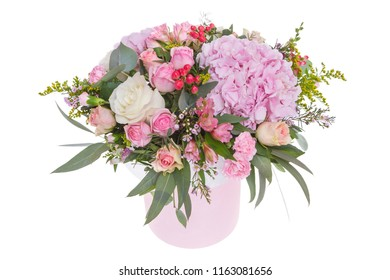 Bright  composition from fresh flowers, the white background
