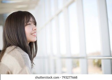Bright and cute Japanese women