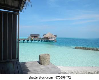 Bright day in Maldives island coast